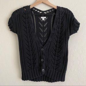 American Eagle Crop Cardigan Short Sleeved Sweater